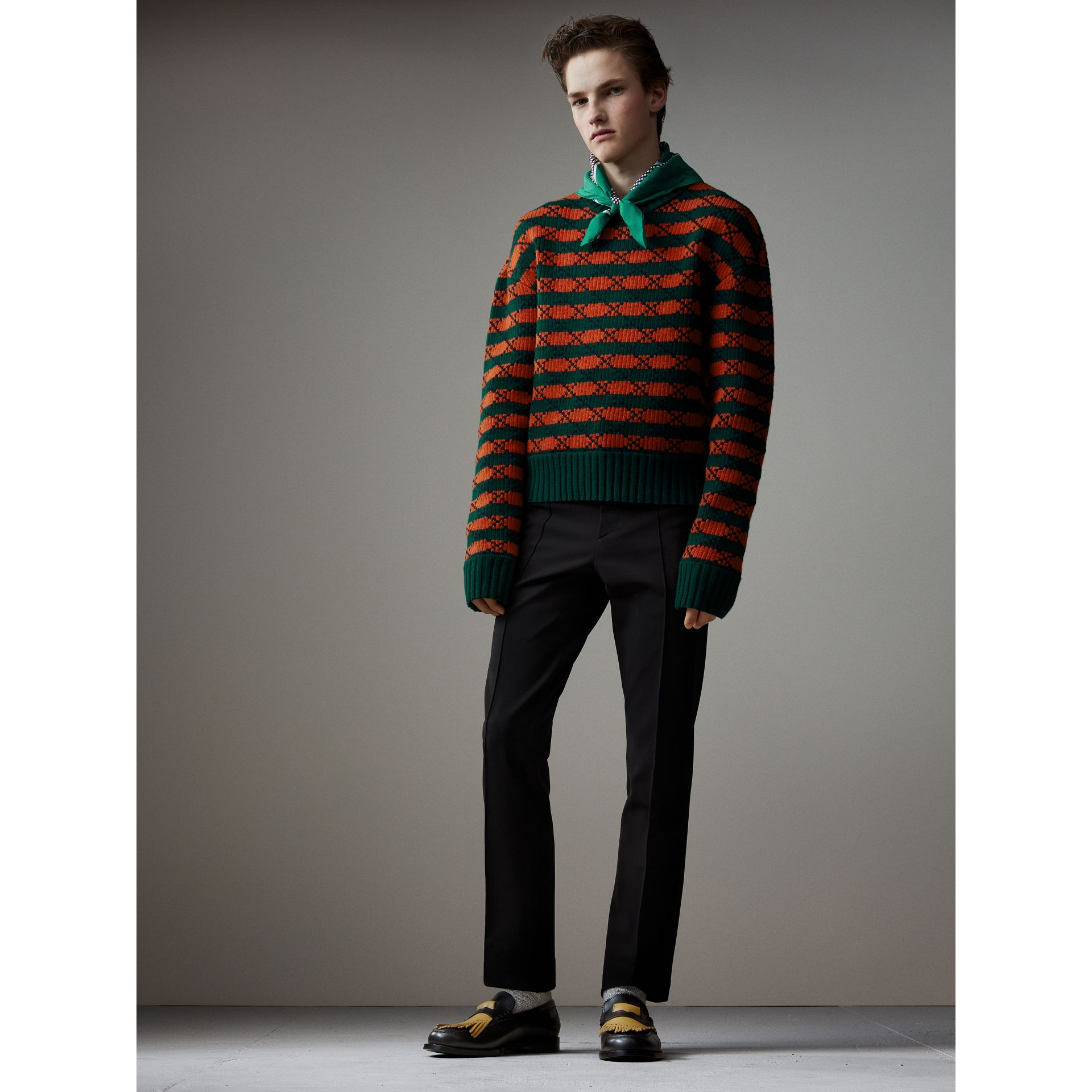 Jersey Cropped Tailored Riding Trousers in Black - Men   Burberry - gallery image 5