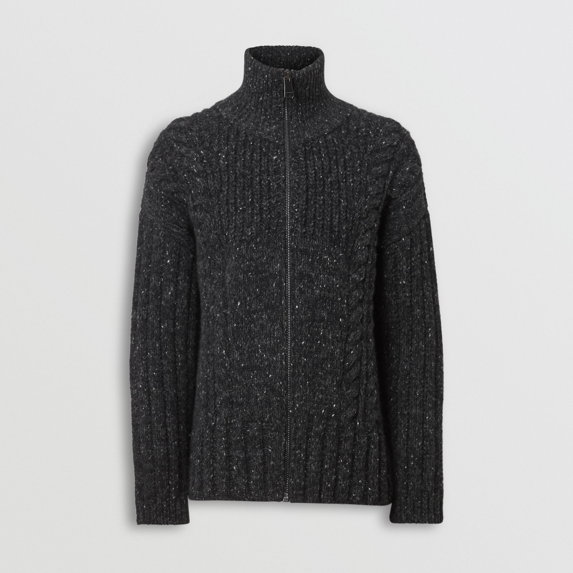 Cable Knit Cashmere Wool Mohair Zip-front Sweater in Black - Men | Burberry - gallery image 3