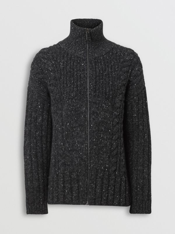 Cable Knit Cashmere Wool Mohair Zip-front Sweater in Black - Men | Burberry - cell image 3