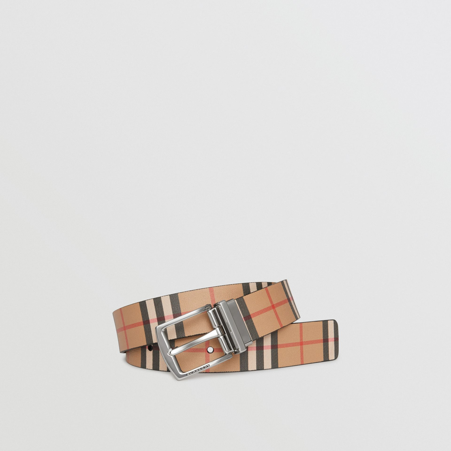 Reversible Vintage Check Leather Belt in Black - Men | Burberry United States - gallery image 0
