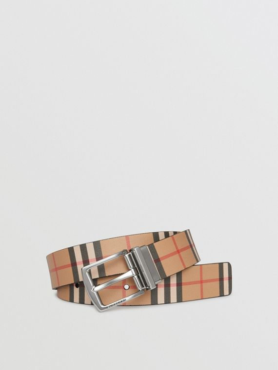 Reversible Vintage Check Leather Belt in Black