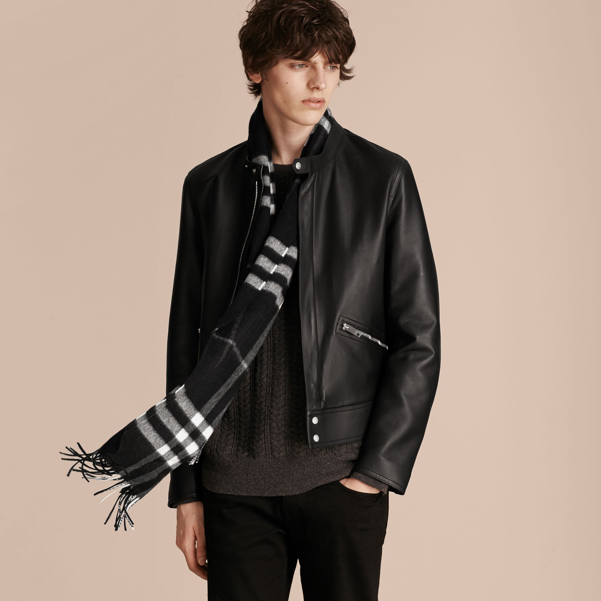 Black check The Classic Cashmere Scarf in Check Black - gallery image 4
