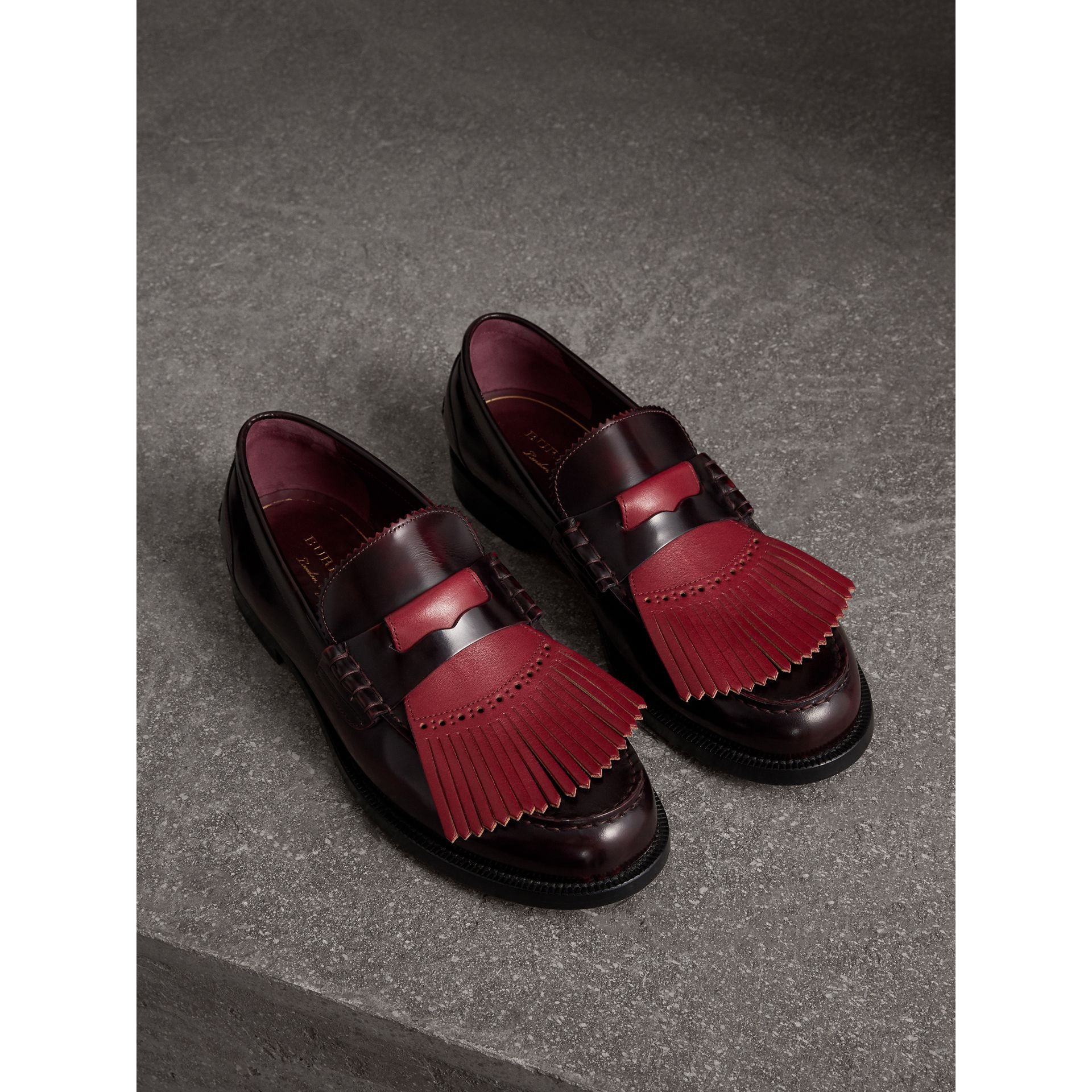Contrast Kiltie Fringe Leather Loafers in Rust Red/red Claret - Men | Burberry - gallery image 1