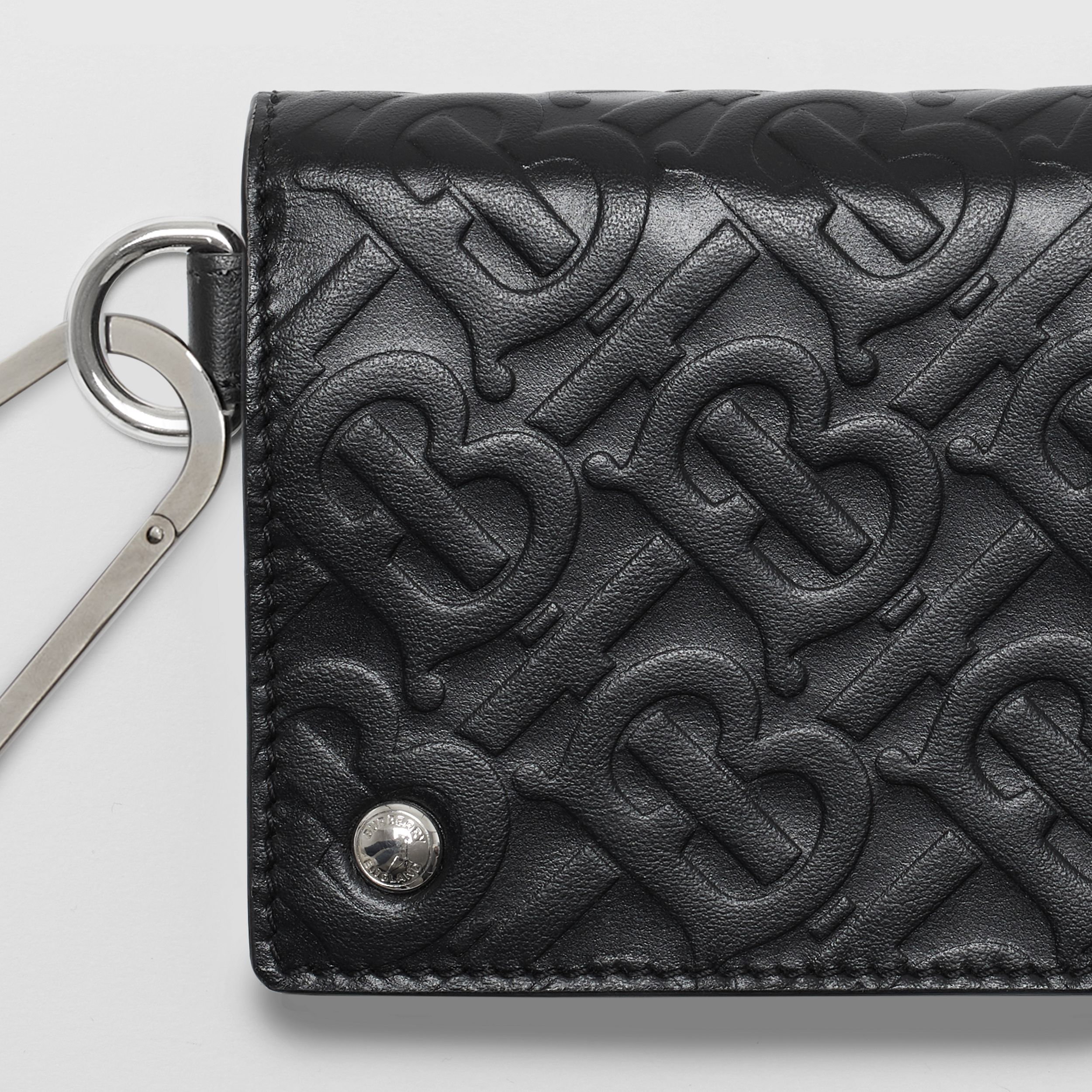 Monogram Embossed Leather Trifold Wallet in Black | Burberry - 2