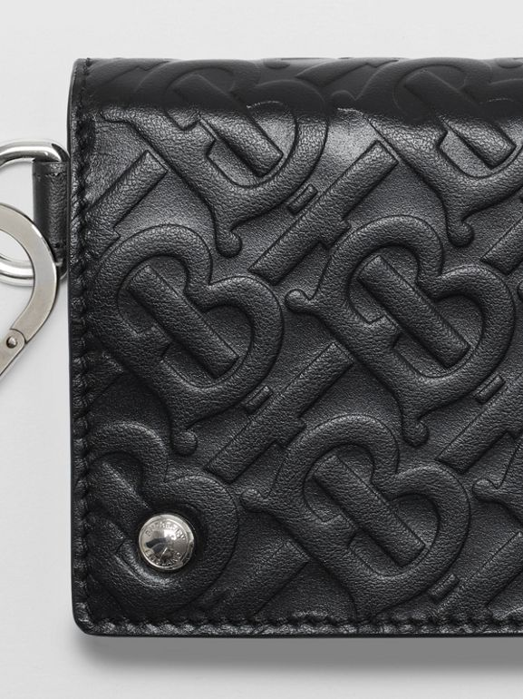 Monogram Embossed Leather Trifold Wallet in Black | Burberry - cell image 1