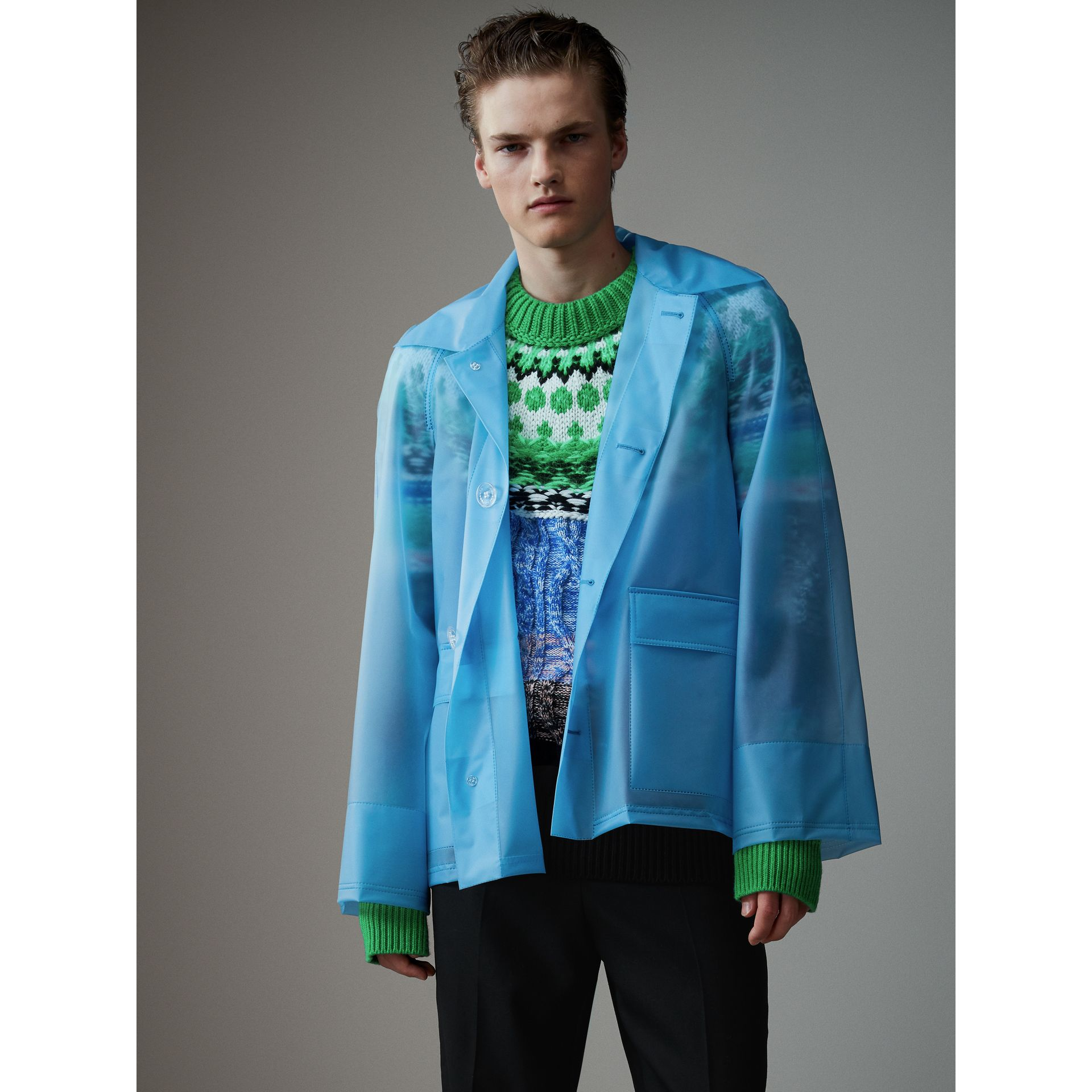 Soft-touch Plastic Jacket in Sky Blue - Men | Burberry - gallery image 4
