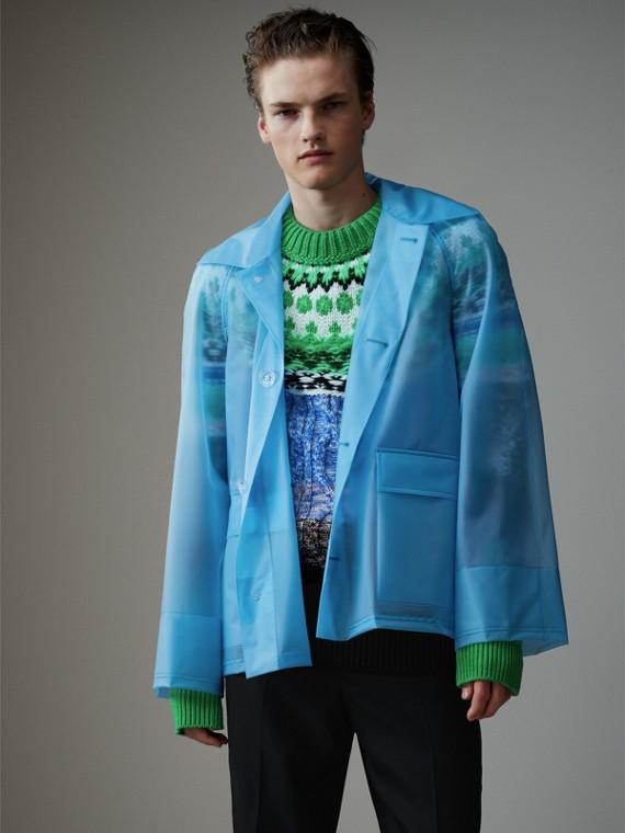 Jaqueta de plástico com textura suave (Azul Celeste)