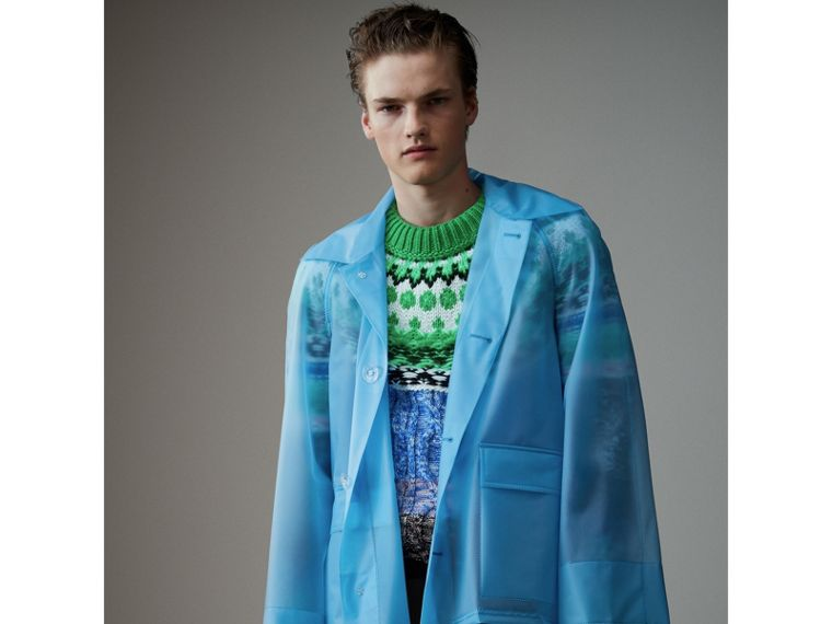 Soft-touch Plastic Jacket in Sky Blue - Men | Burberry - cell image 4
