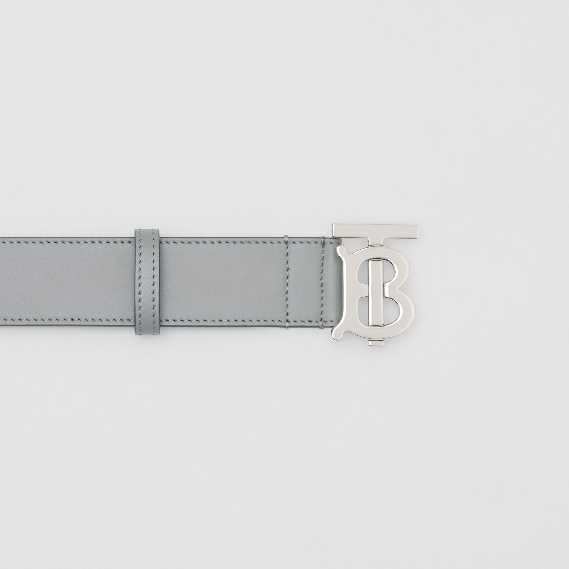 Monogram Motif Leather Belt in Cloud Grey - Men | Burberry - gallery image 1