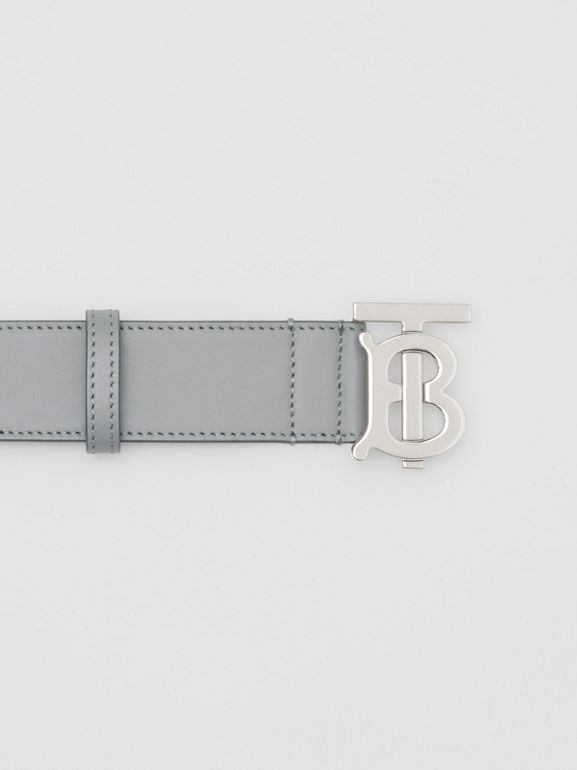 Monogram Motif Leather Belt in Cloud Grey - Men | Burberry - cell image 1