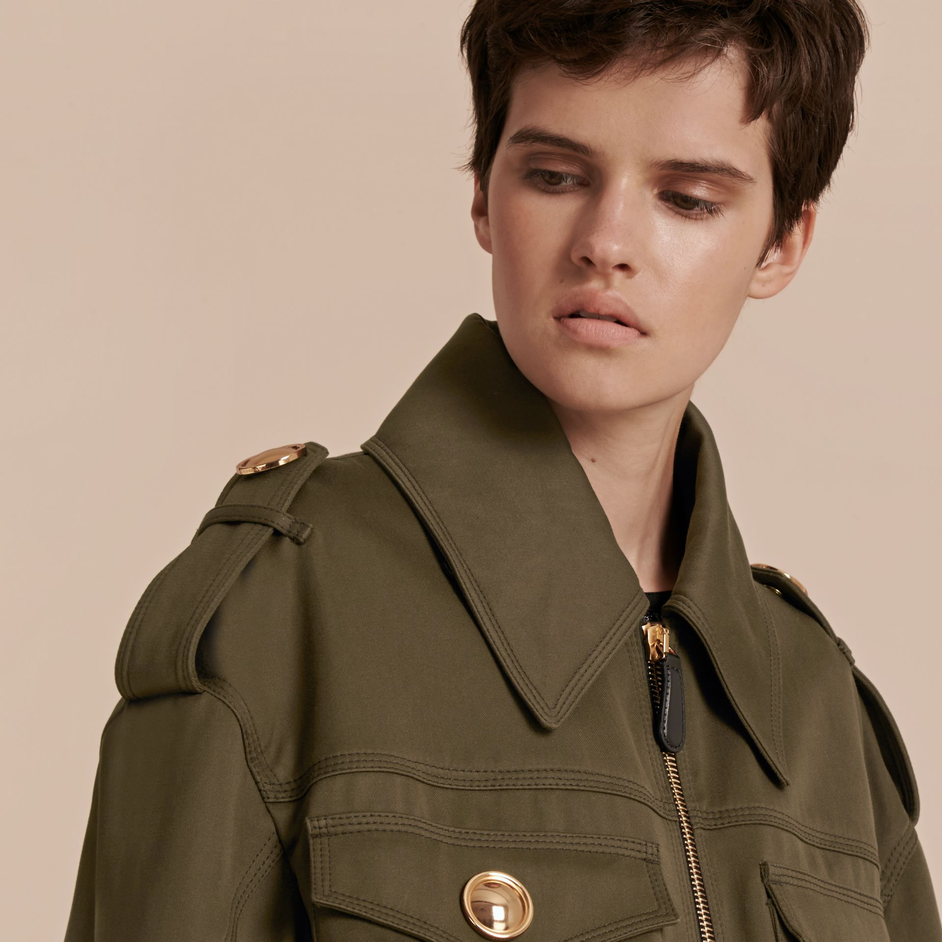 Military green Cotton Field Jacket With Shearling Collar - gallery image 7