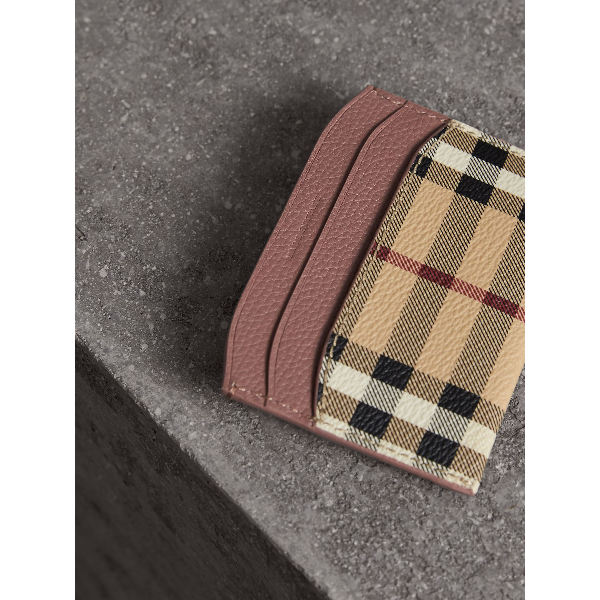 Haymarket Check and Leather Card Case in Light Elderberry - Women | Burberry - gallery image 2