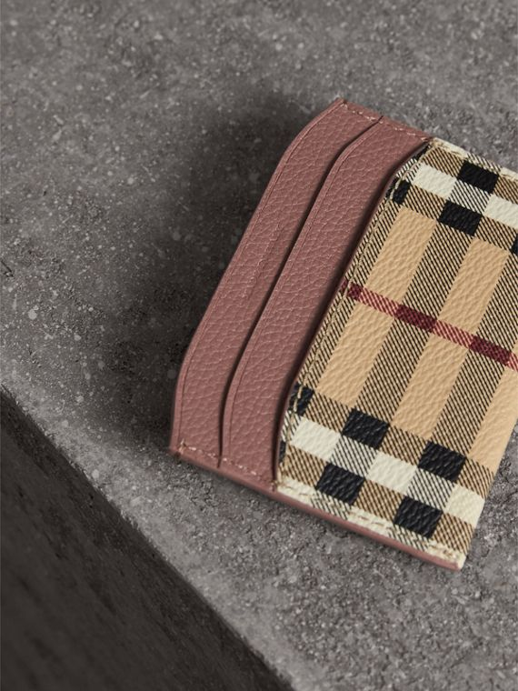 Haymarket Check and Leather Card Case in Light Elderberry - Women | Burberry - cell image 2