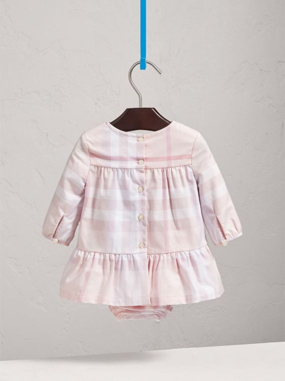 Check Cotton Tiered Dress with Bloomers in Ice Pink | Burberry - cell image 3