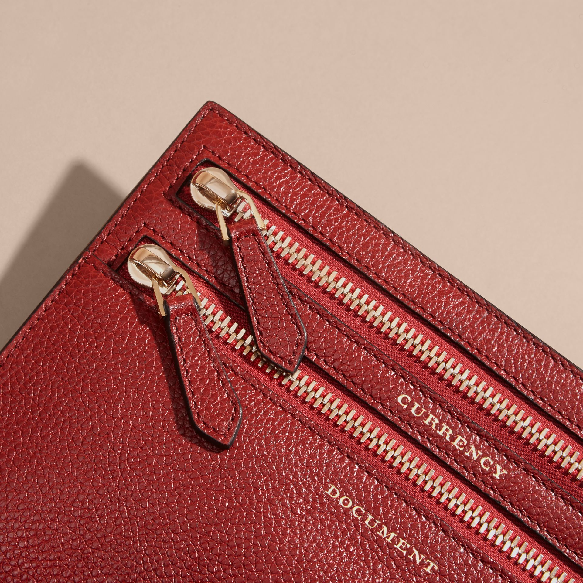 Grainy Leather Currency Wallet in Parade Red | Burberry United Kingdom - gallery image 1