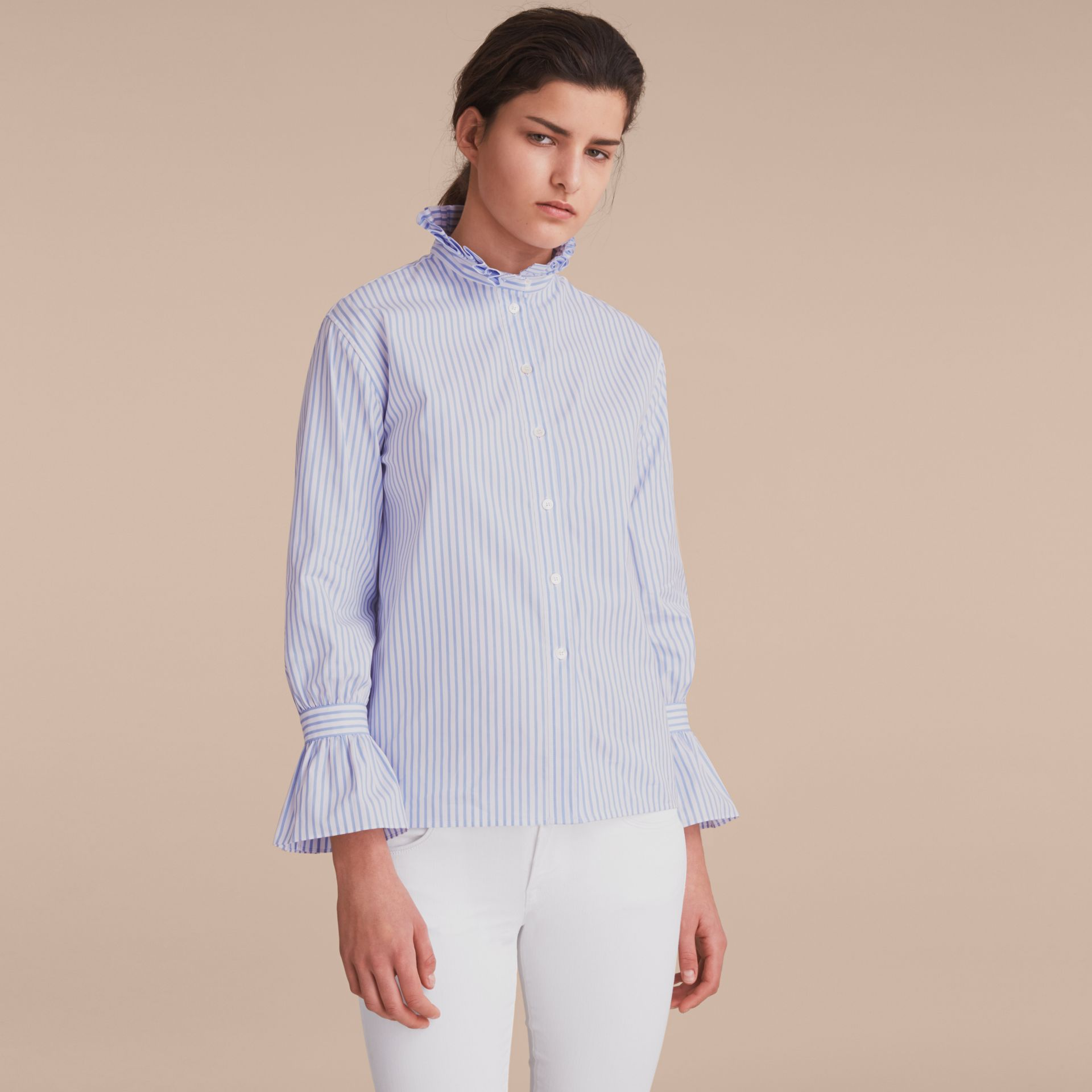 Ruffle Detail Striped Cotton Shirt - gallery image 6