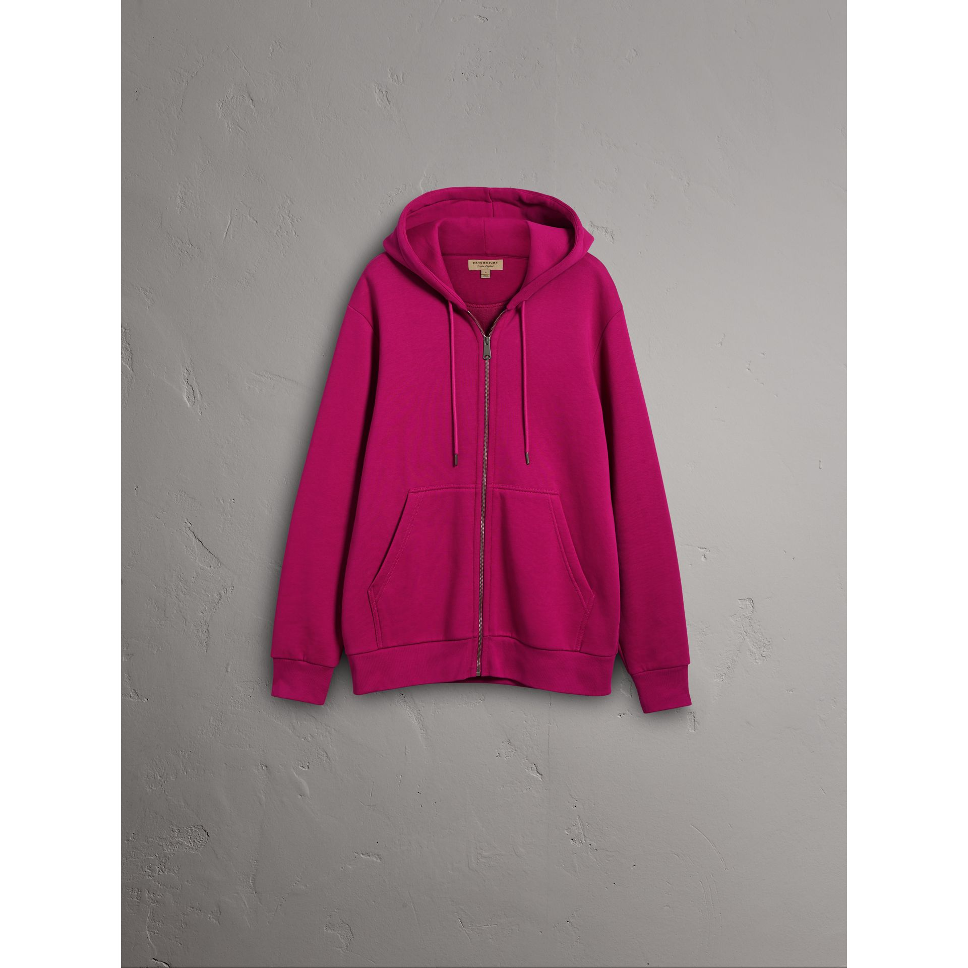 Cotton Jersey Zip-front Hooded Top in Bright Fuchsia - Men | Burberry - gallery image 1
