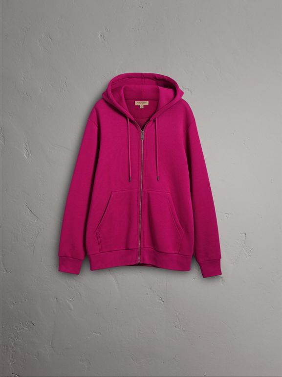 Cotton Jersey Zip-front Hooded Top in Bright Fuchsia - Men | Burberry - cell image 1