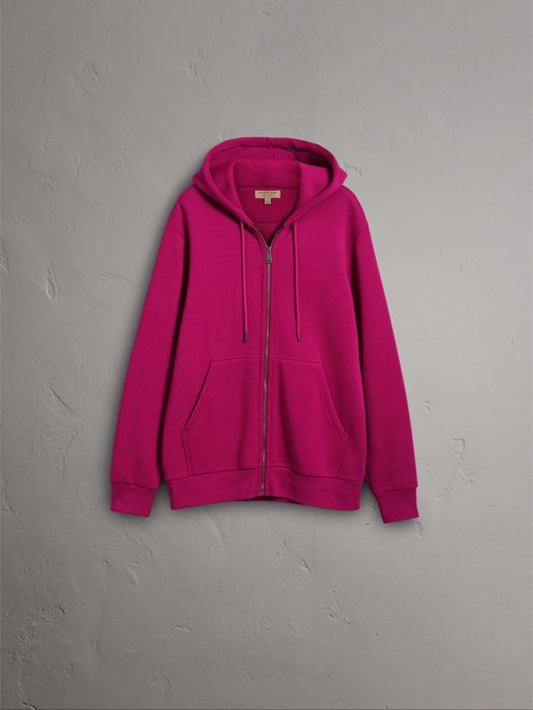 Cotton Jersey Zip-front Hooded Top in Bright Fuchsia