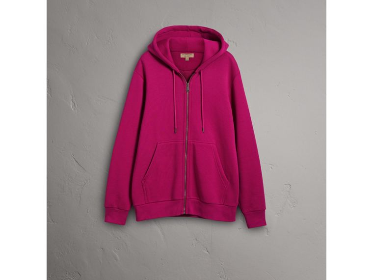 Cotton Jersey Zip-front Hooded Top in Bright Fuchsia - Men | Burberry United Kingdom - cell image 1