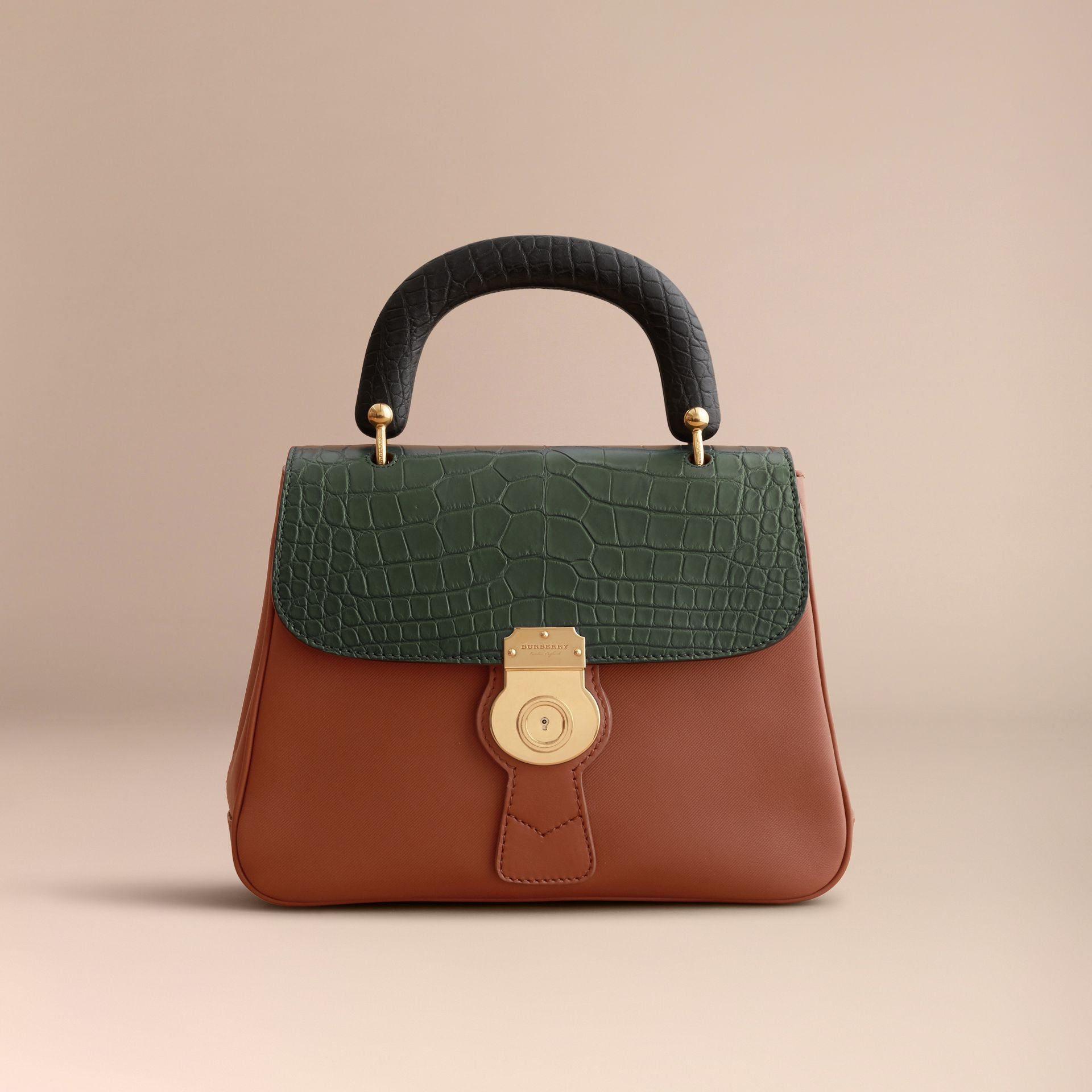 The Medium DK88 Top Handle Bag with Alligator in Tan/dark Forest Green - Women | Burberry United Kingdom - gallery image 6