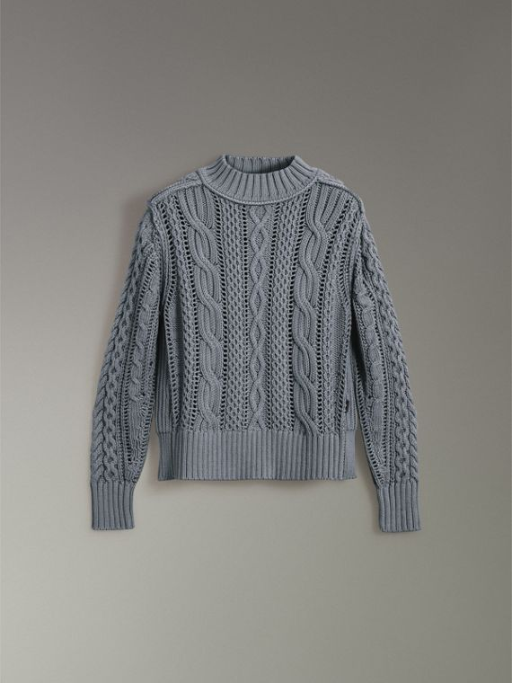 Open-stitch Detail Cable Knit Cotton Cashmere Sweater in Stone Blue - Men | Burberry - cell image 3