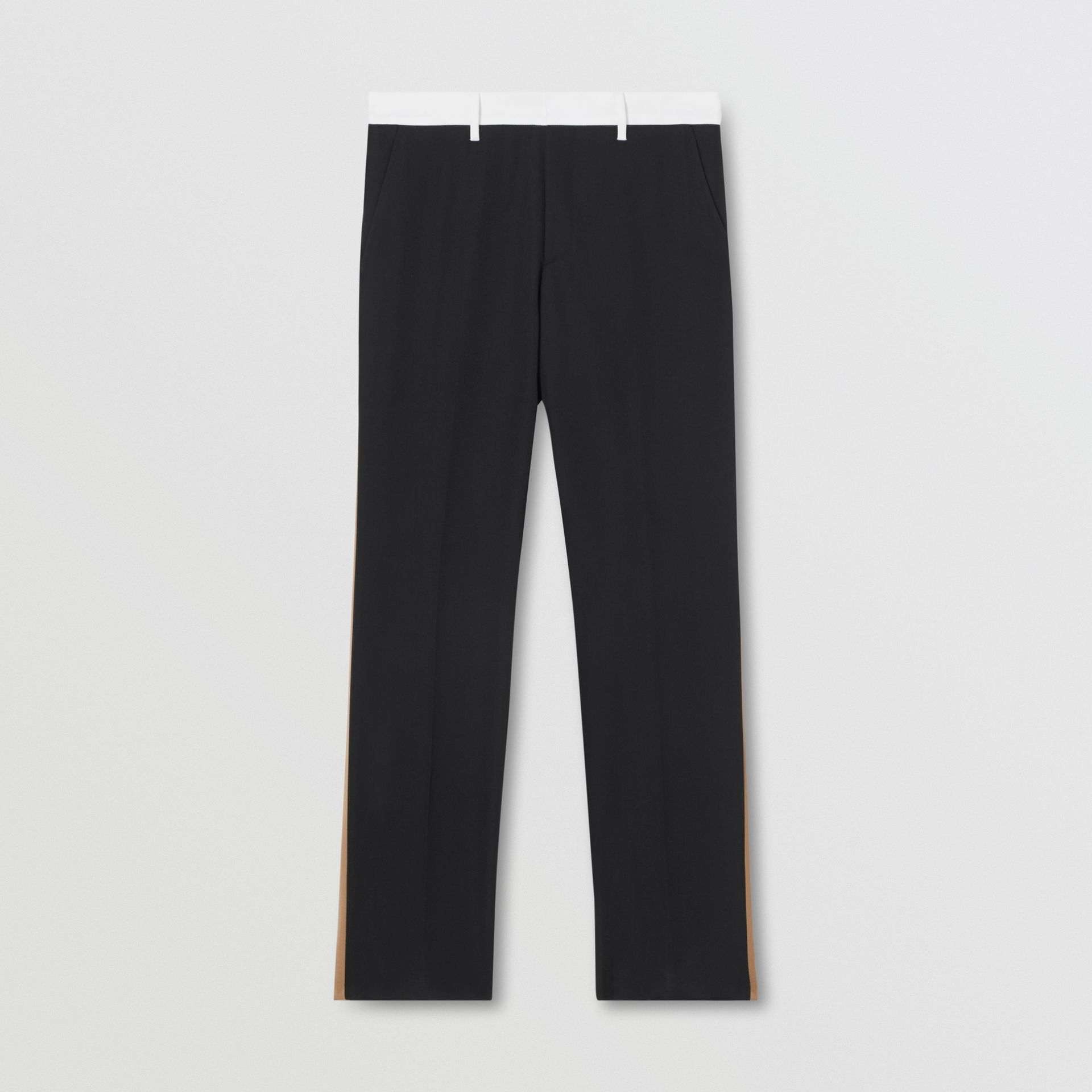 Classic Fit Side Stripe Wool Tailored Trousers in Black - Men | Burberry Canada - gallery image 3