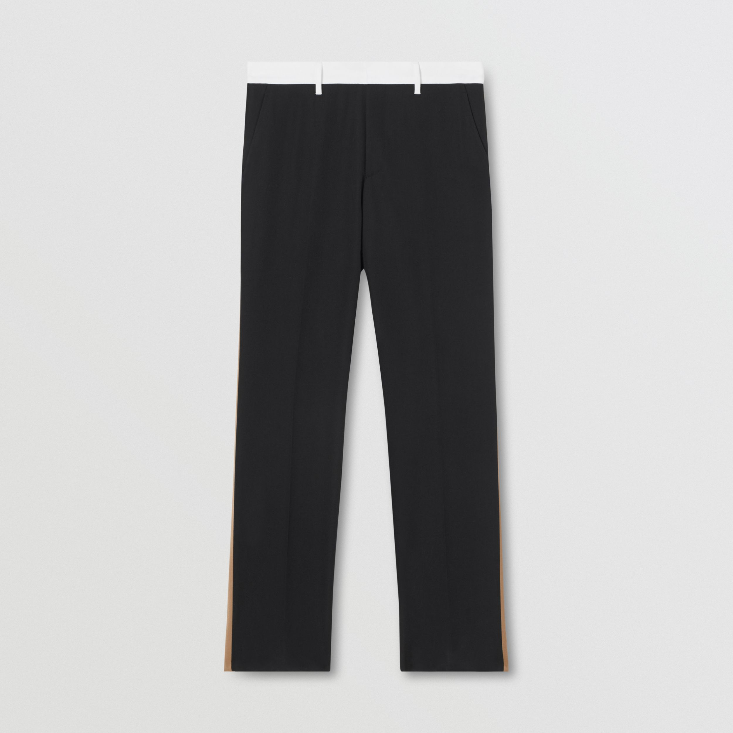 Classic Fit Side Stripe Wool Tailored Trousers in Black - Men | Burberry - 4