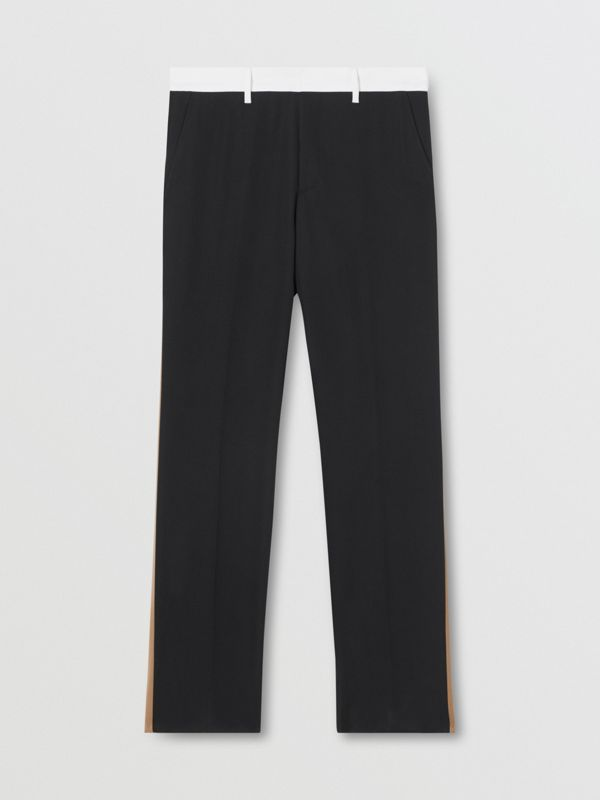 Classic Fit Side Stripe Wool Tailored Trousers in Black - Men | Burberry Canada - cell image 3