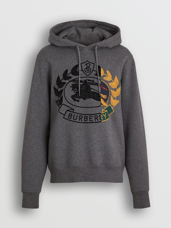 Embroidered Crest Jersey Hoodie in Mid Grey Melange - Men | Burberry Australia - cell image 3