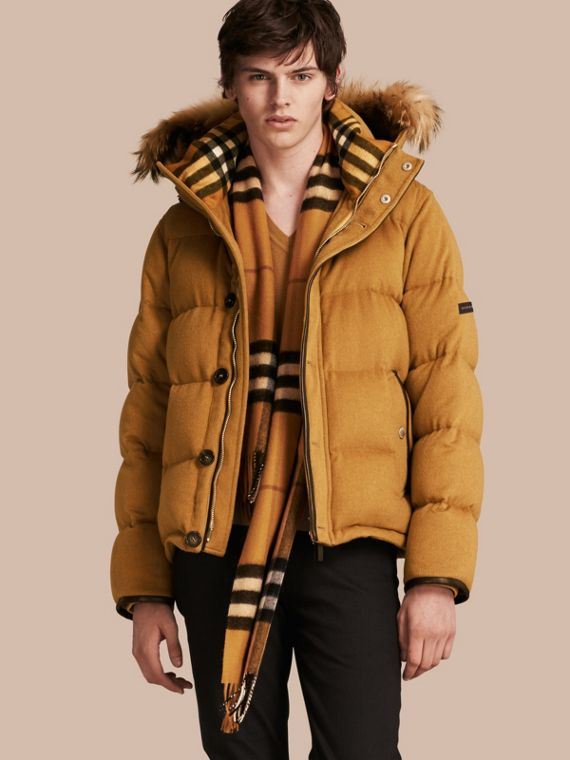 Down-filled Cashmere Jacket with Detachable Fur Trim Larch Yellow