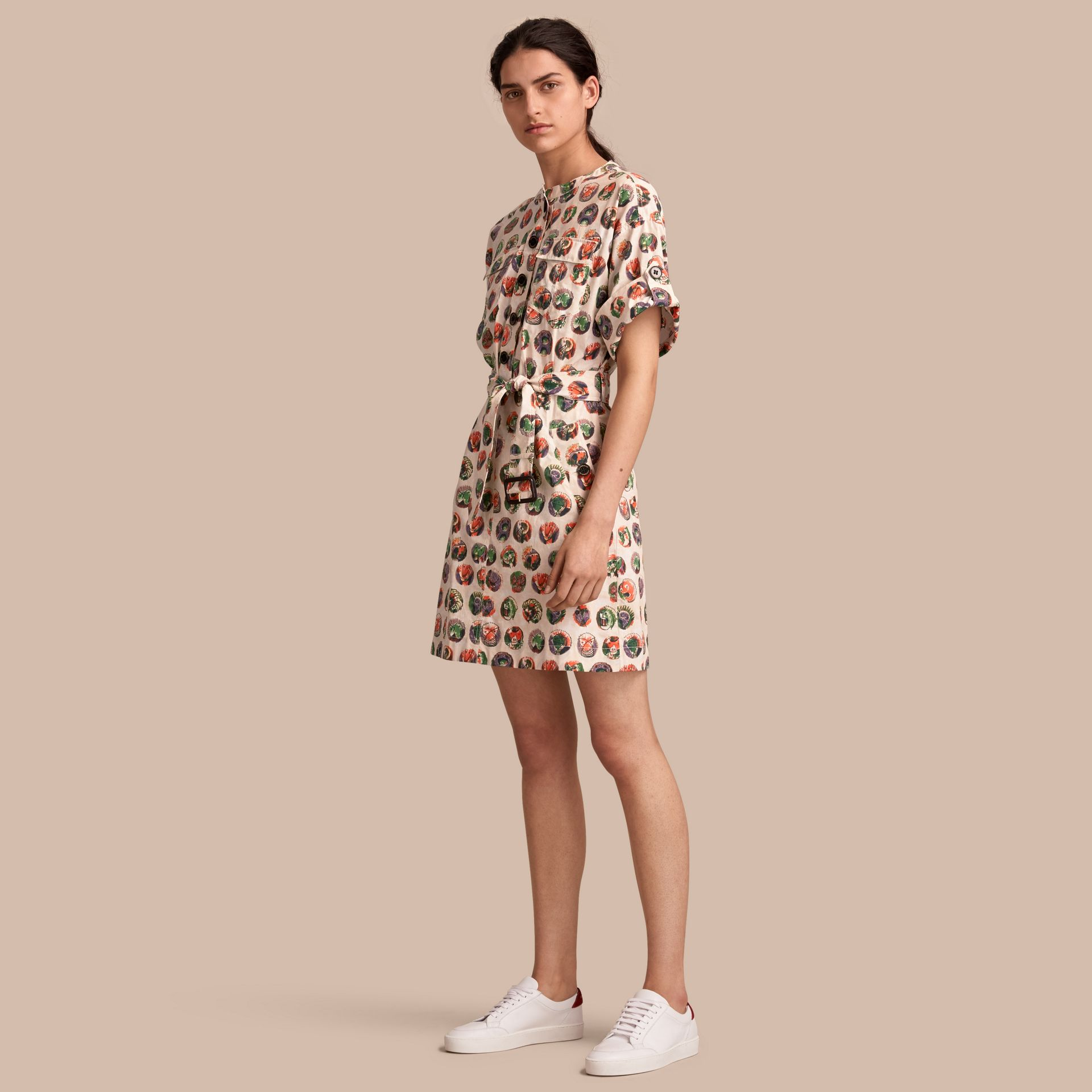 Pallas Heads Print Stretch Cotton Shirt Dress in Natural White - Women | Burberry - gallery image 1