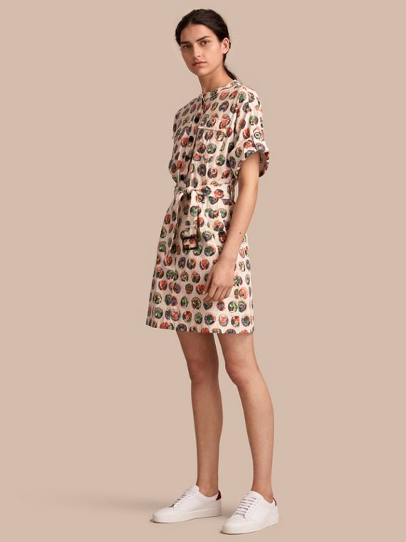 Pallas Heads Print Stretch Cotton Shirt Dress