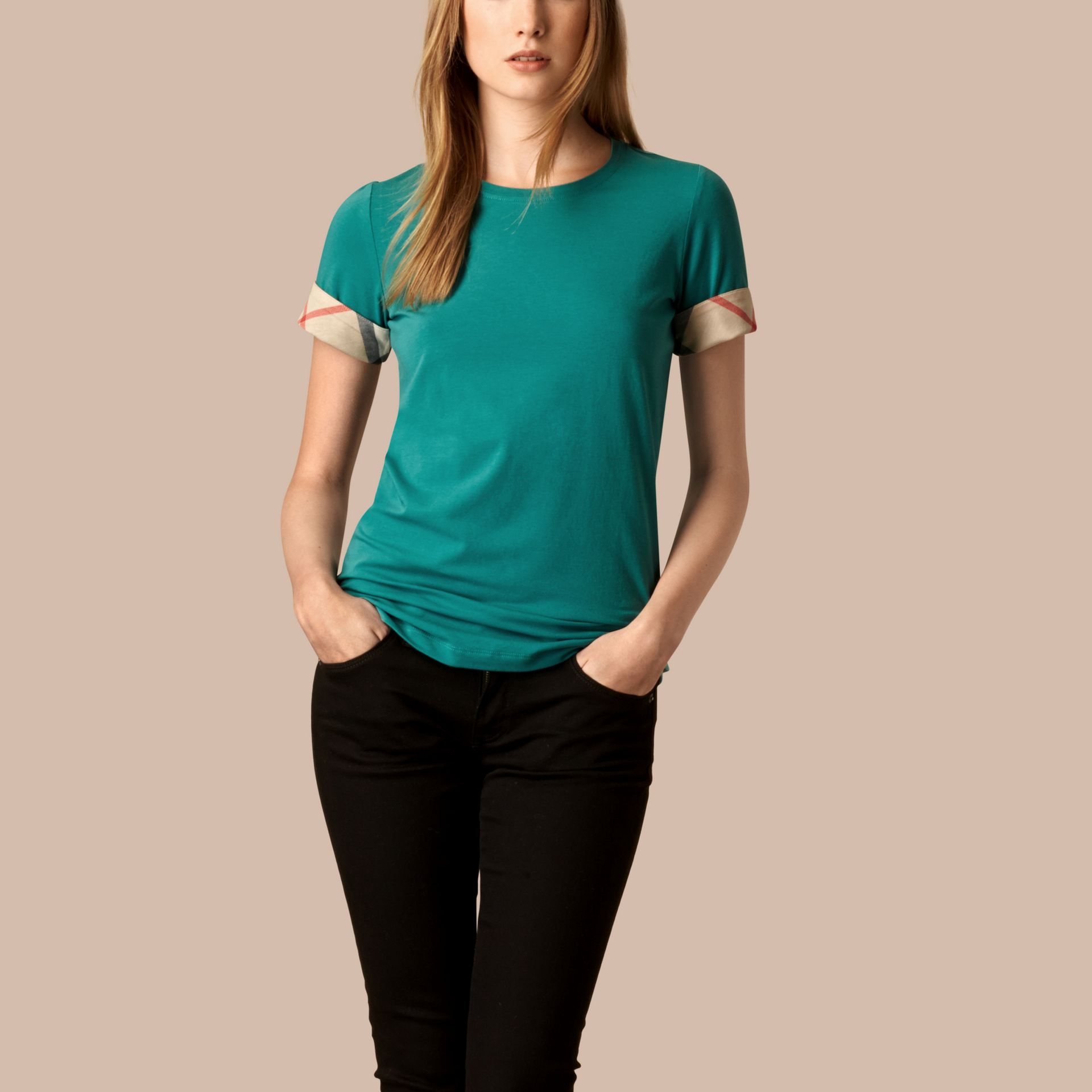 Aqua green Check Cuff Stretch Cotton T-Shirt Aqua Green - gallery image 1