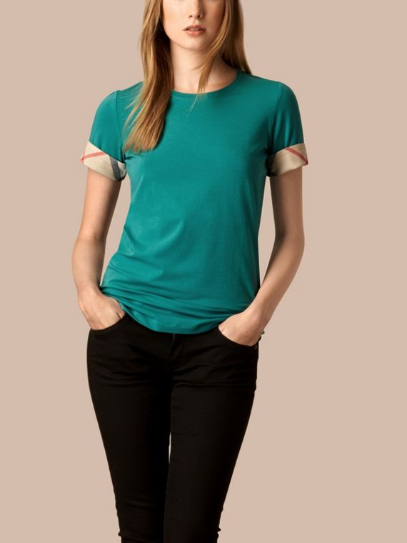 Check Cuff Stretch Cotton T-Shirt Aqua Green