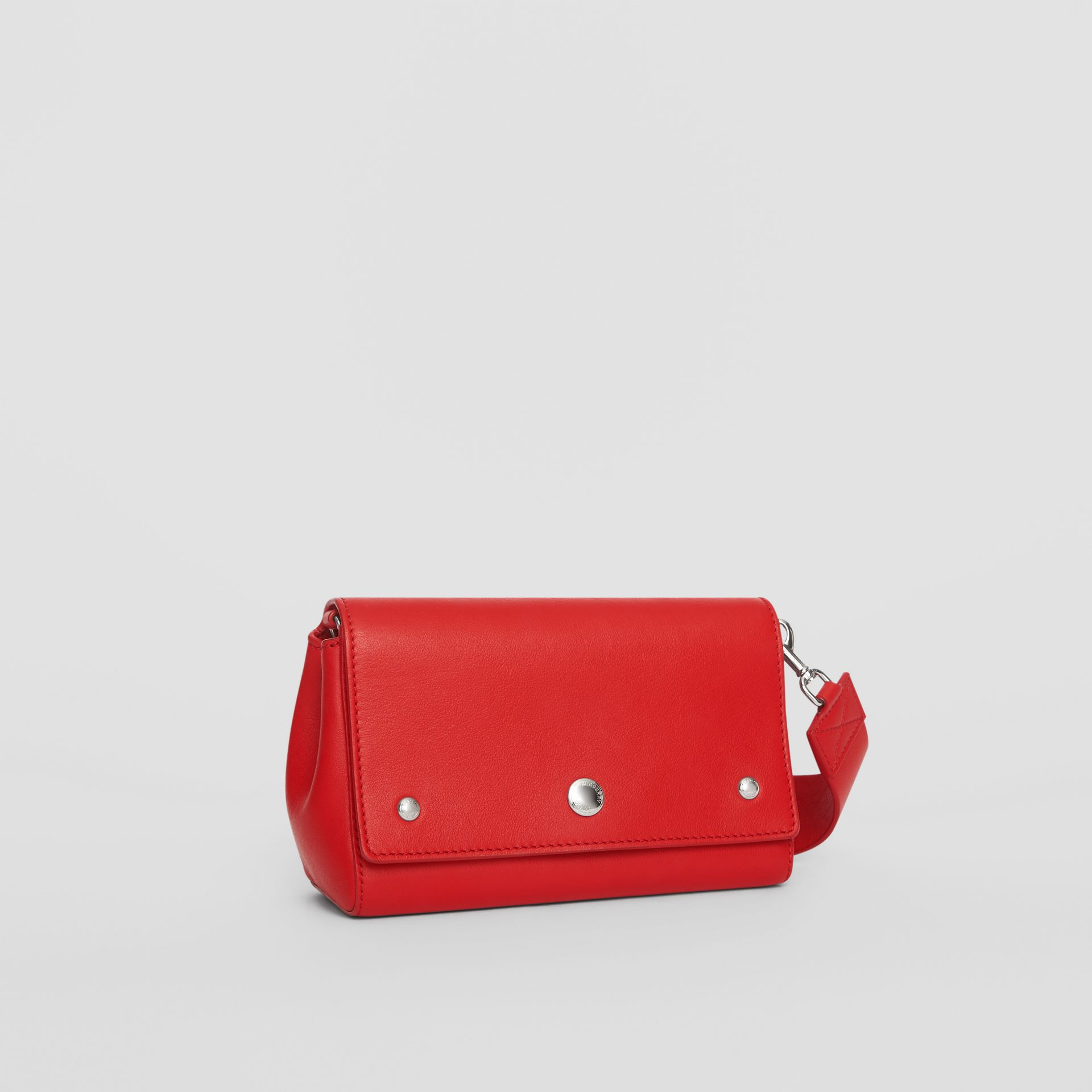 Small Quote Print Grainy Leather Crossbody Bag in Bright Military Red - Women | Burberry - gallery image 6