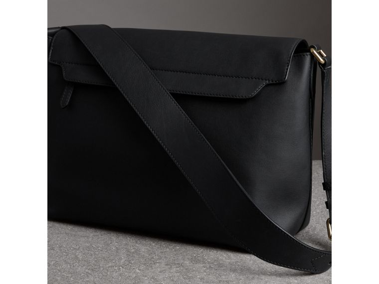 Large Graffiti Print Leather Messenger Bag in Black - Men | Burberry - cell image 4