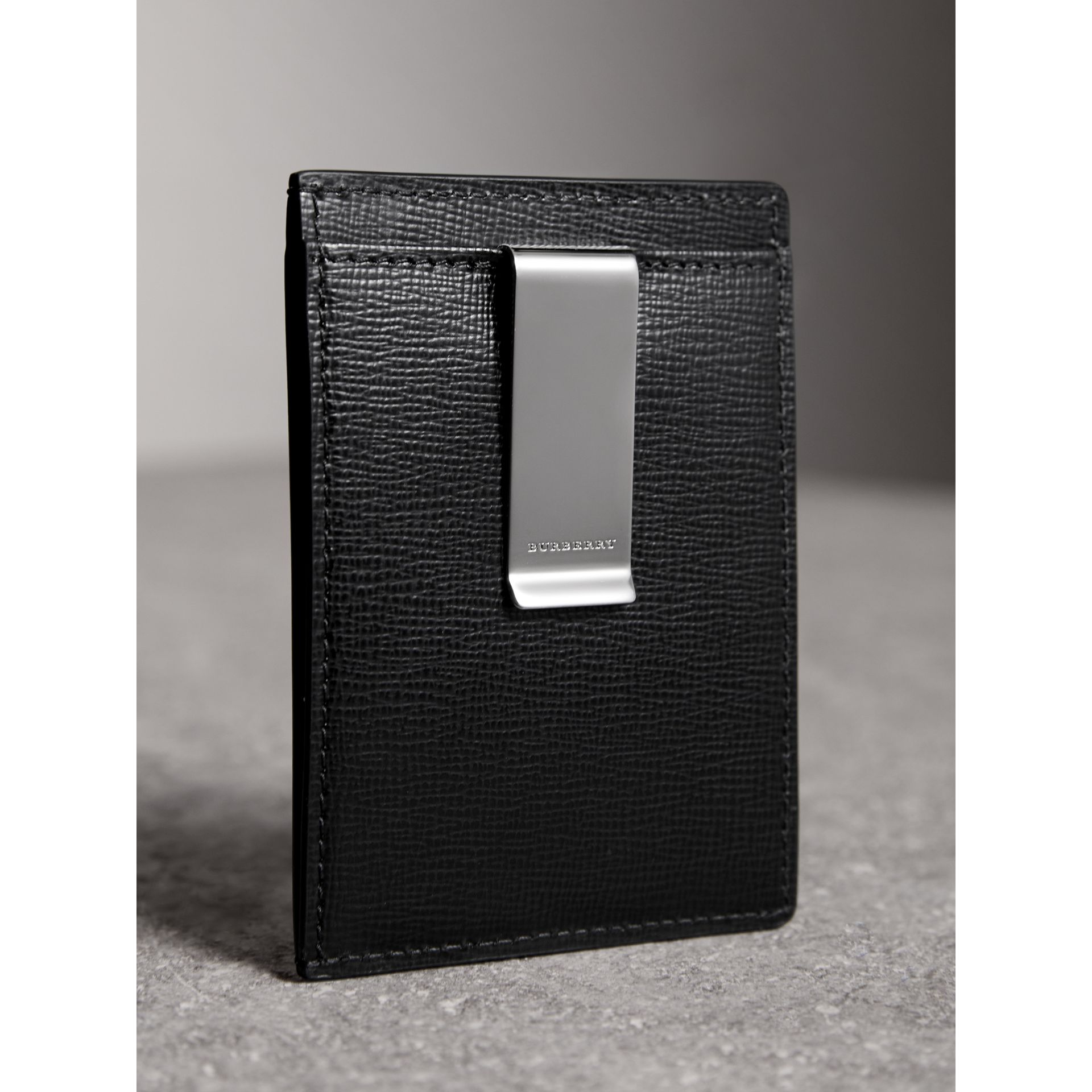 London Leather Money Clip Card Case in Black - Men | Burberry Canada - gallery image 3