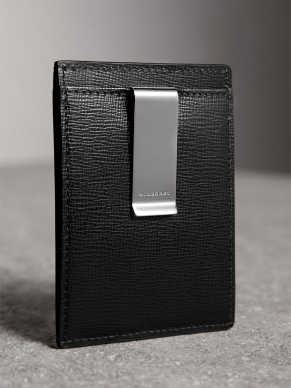 London Leather Money Clip Card Case in Black - Men | Burberry - cell image 2