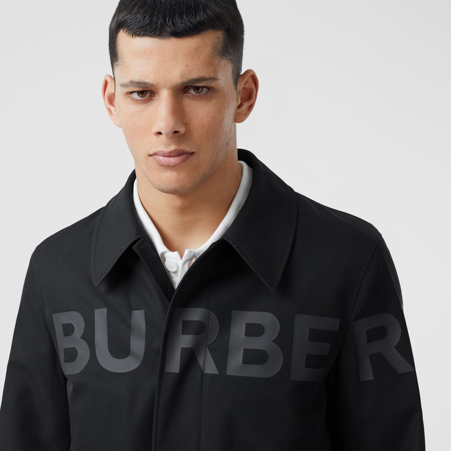 Horseferry Print Cotton Gabardine Car Coat in Black - Men | Burberry - gallery image 1