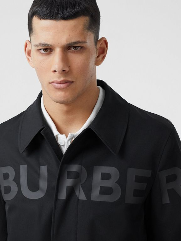 Horseferry Print Cotton Gabardine Car Coat in Black - Men | Burberry United Kingdom - cell image 1