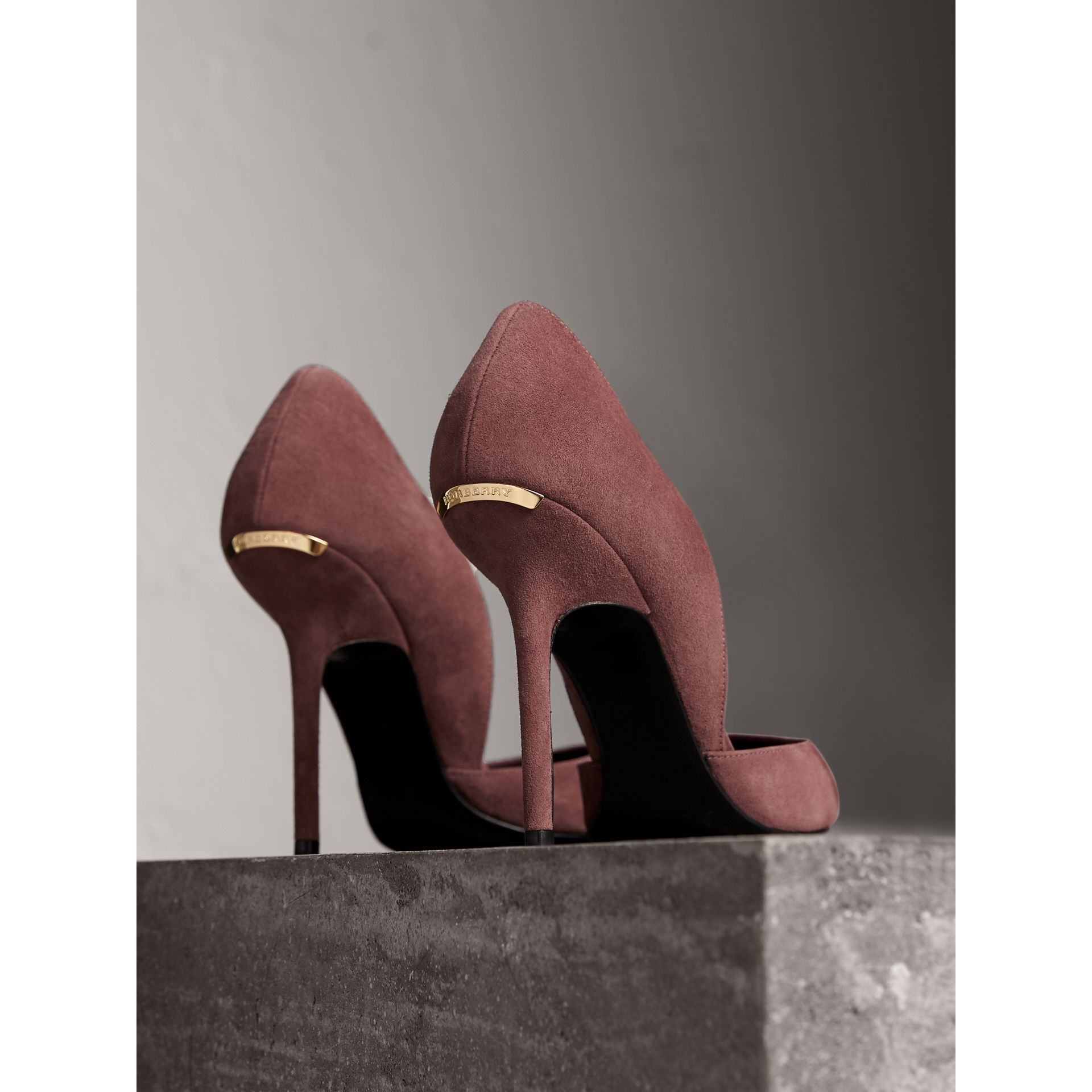 Point-toe Suede D'Orsay Pumps in Taupe Rose - Women | Burberry - gallery image 4