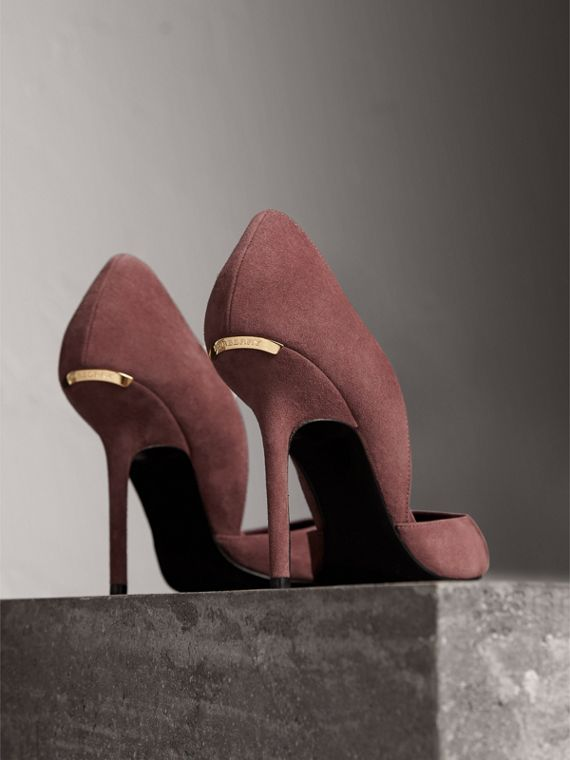 Point-toe Suede D'Orsay Pumps in Taupe Rose - Women | Burberry United Kingdom - cell image 3