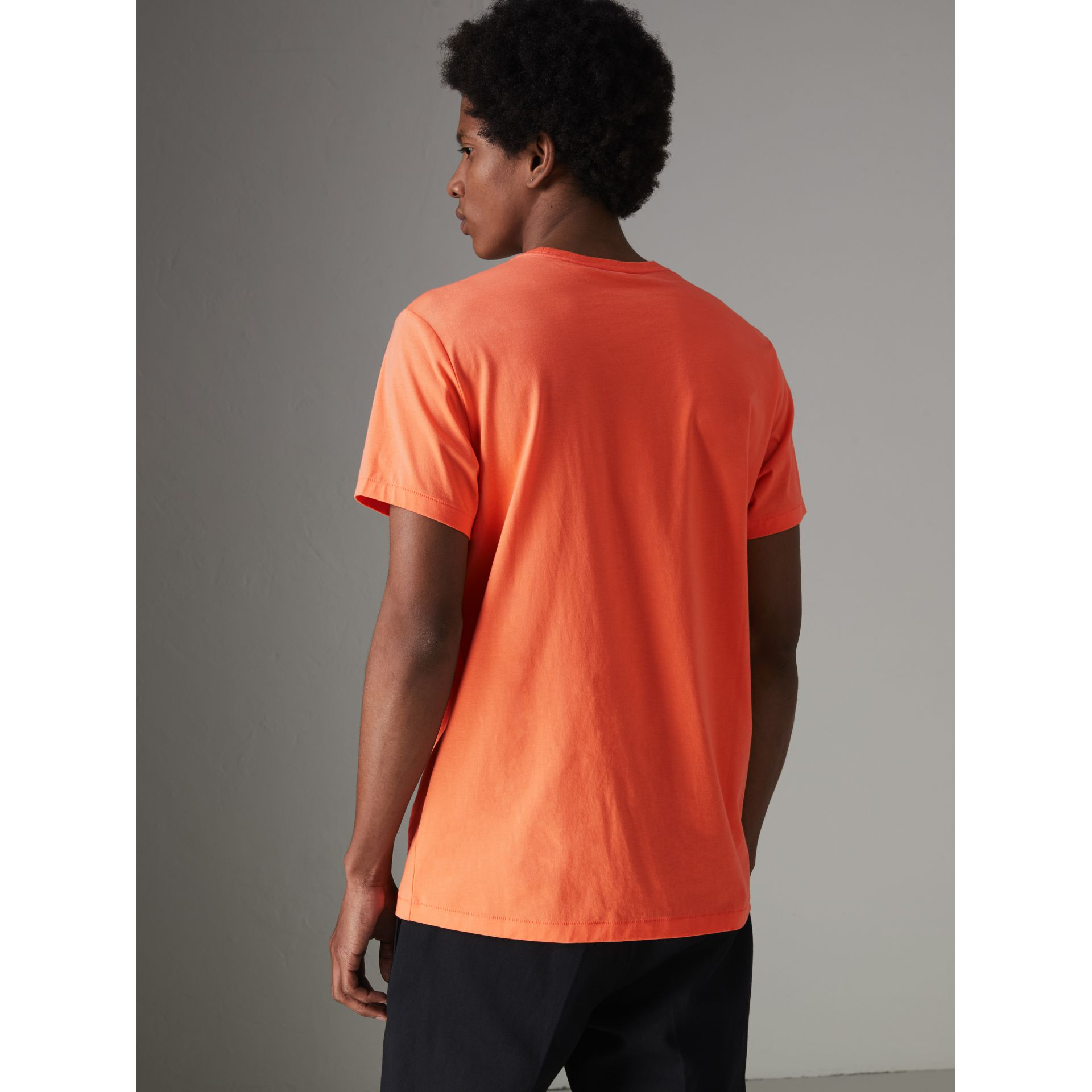 Cotton Jersey T-shirt in Bright Orange - Men | Burberry Singapore - gallery image 2
