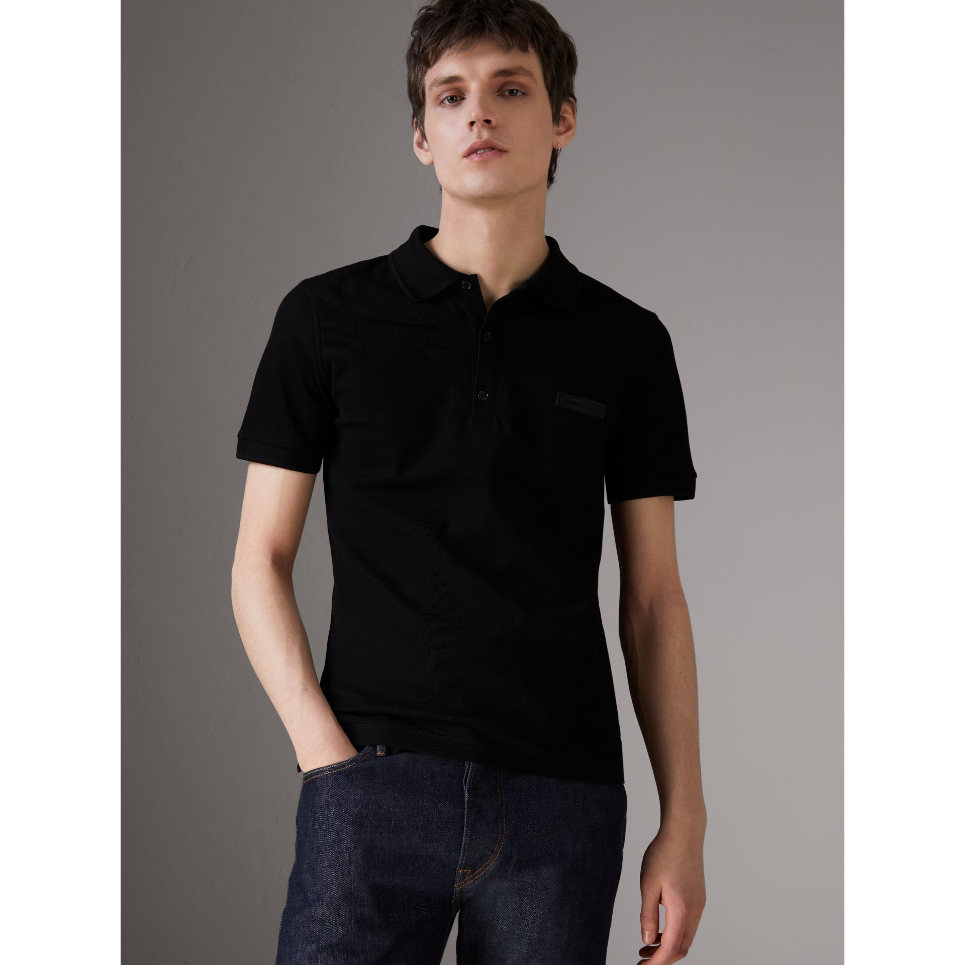 Cotton Piqué Polo Shirt in Black - Men | Burberry United Kingdom - gallery image 0