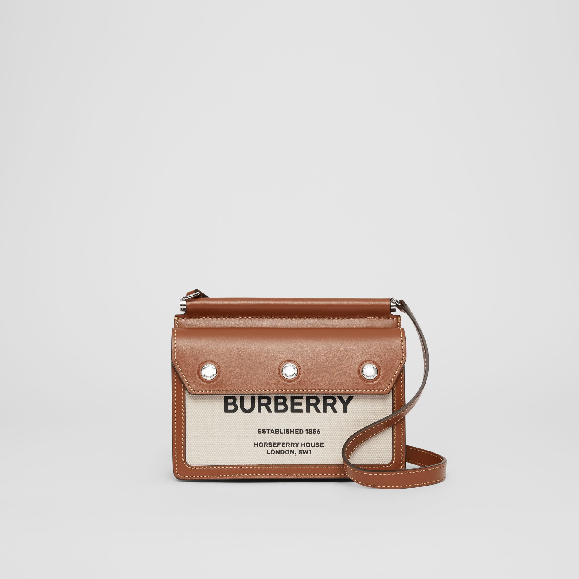 Mini Horseferry Print Title Bag with Pocket Detail in Natural/malt Brown - Women | Burberry Australia - gallery image 0