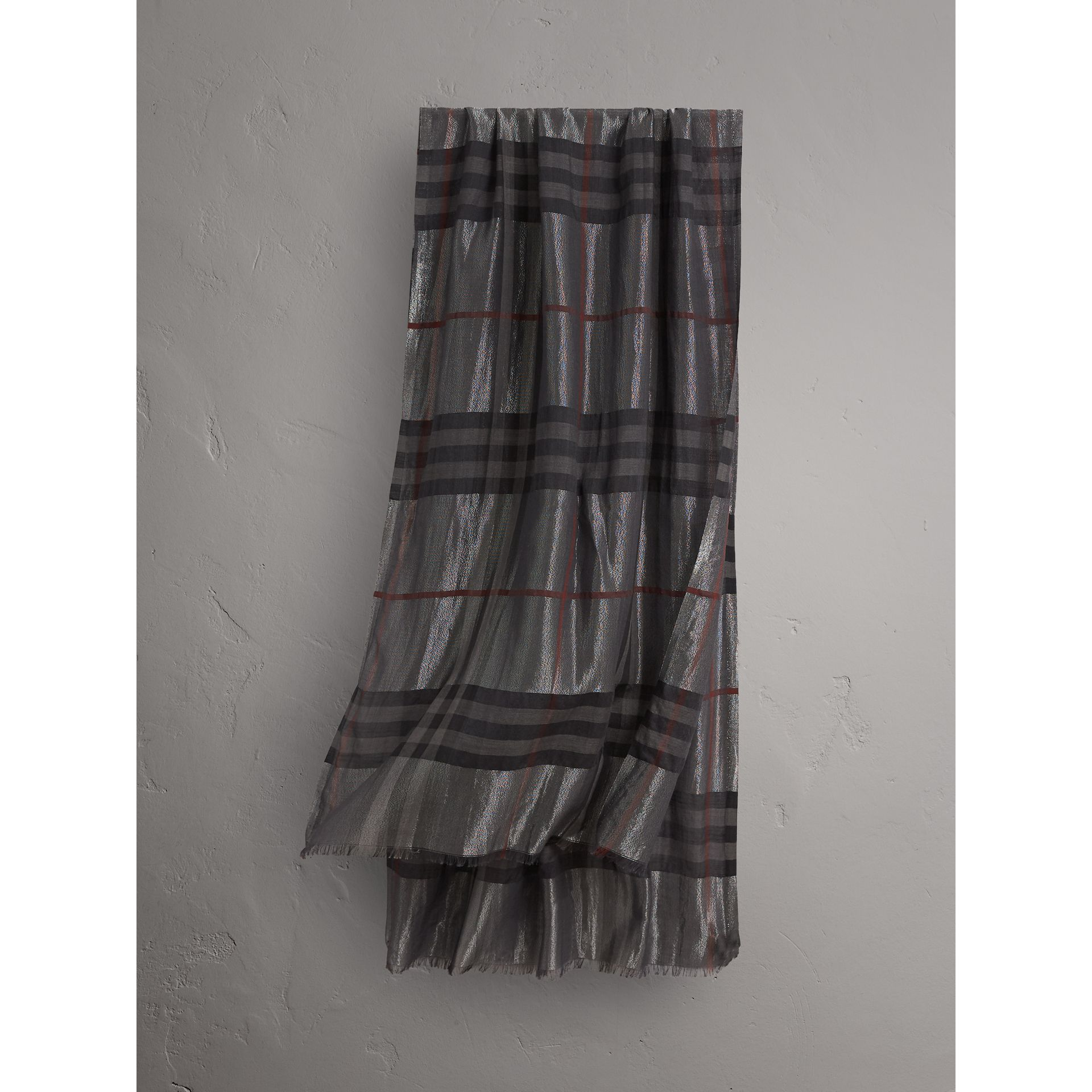 Metallic Check Silk and Wool Scarf in Charcoal - Women | Burberry Australia - gallery image 1
