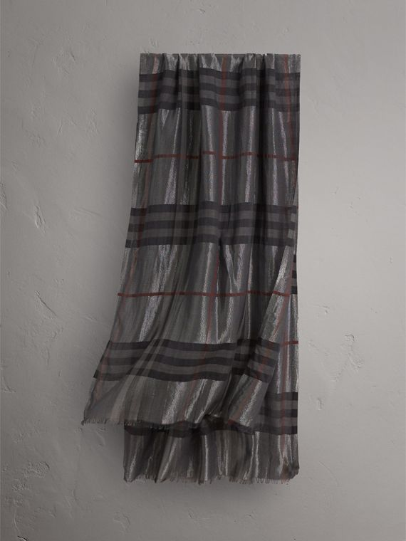 Metallic Check Silk and Wool Scarf in Charcoal