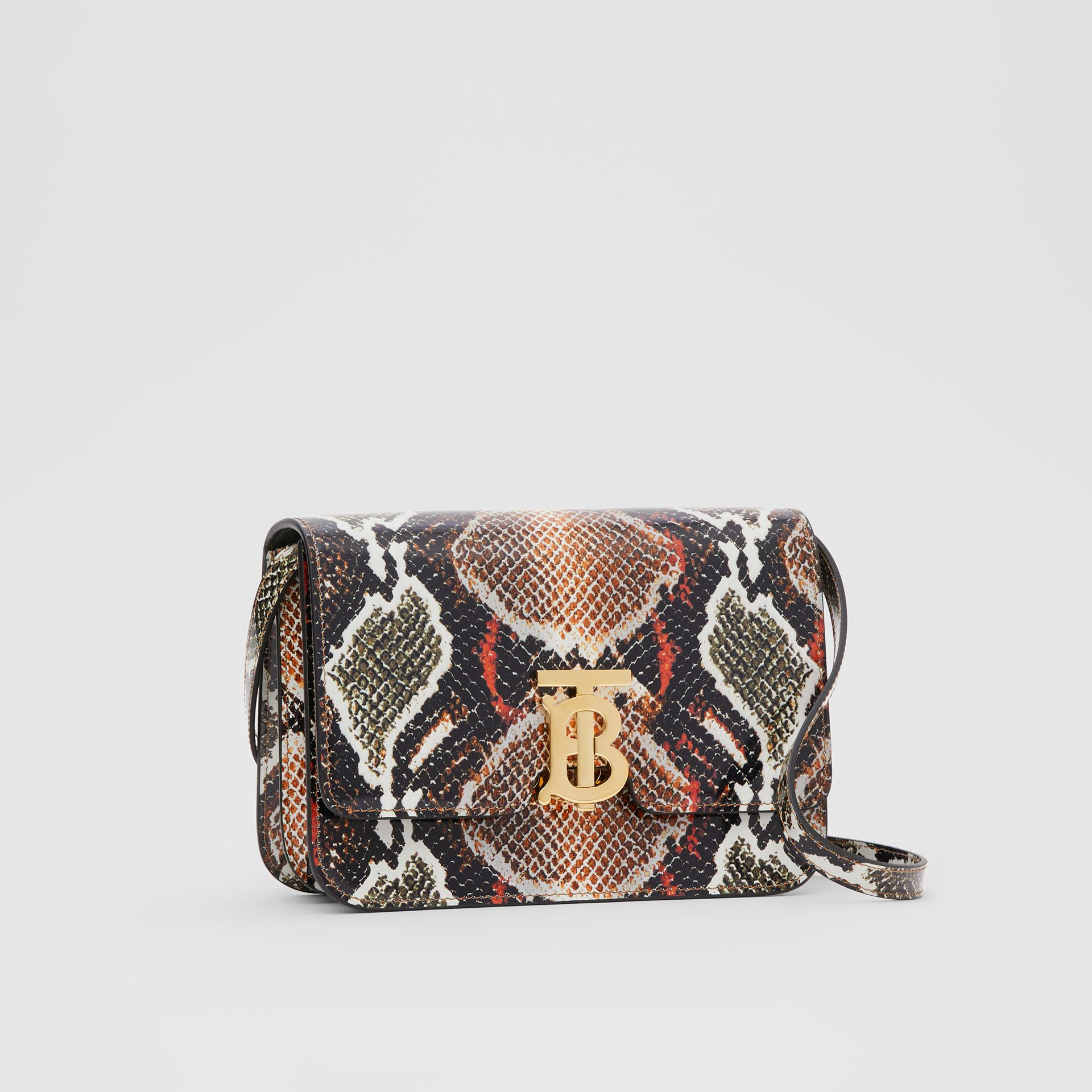 Small Python Print Leather TB Bag in Soft Cocoa - Women | Burberry - gallery image 4