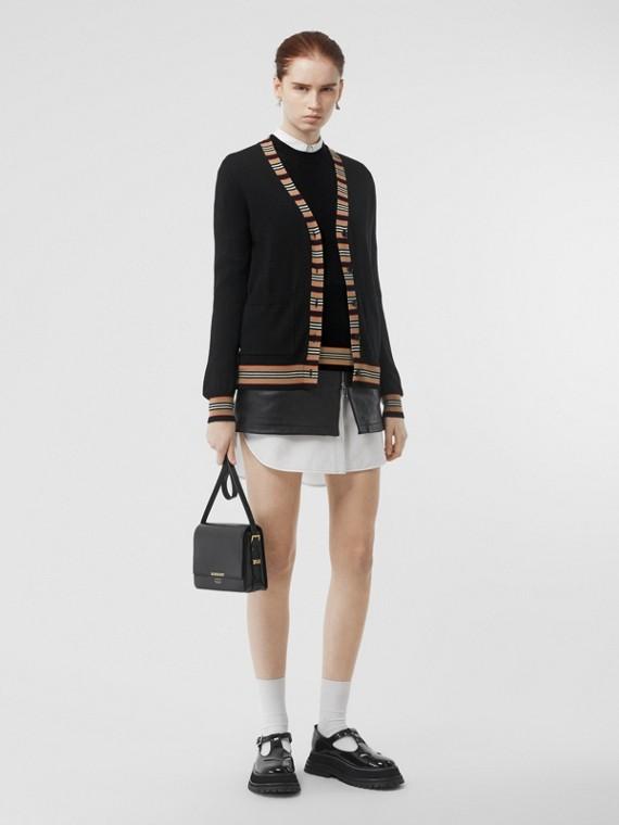 Short-sleeve Icon Stripe Detail Merino Wool Top in Black